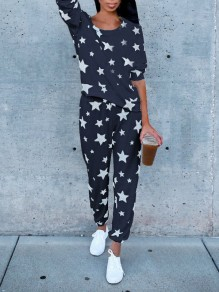 Navy Blue Galaxy Print 2-in-1 Elastic Waist High Waisted Fashion Long Jumpsuit