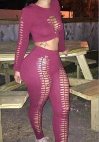 Burgundy 2 Piece Cut Out Round Neck Long Sleeve Long Jumpsuit
