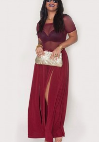 Burgundy Patchwork Grenadine Double Slit Off Shoulder Two Piece Wide Leg Long Jumpsuit