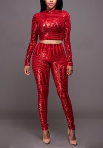 Red Geometric Sequin Two Piece High Waisted Party Long Jumpsuit