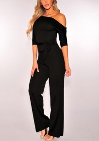 Black Plain Sashes Asymmetric Shoulder Fashion Long Jumpsuit