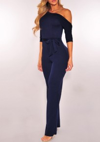 Blue Plain Sashes Asymmetric Shoulder Fashion Long Jumpsuit
