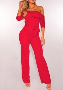 Red Plain Sashes Asymmetric Shoulder Fashion Long Jumpsuit