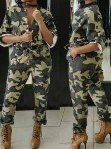 Army Green Camouflage Print Drawstring Buttons Pockets High Waisted Long Jumpsuit
