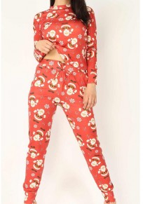 Red Santa Claus Print Long Sleeve Round Neck Christmas Long Jumpsuit