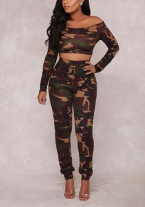 Army Green Camouflage Off Shoulder Backless High Waisted Two Piece Long Jumpsuit