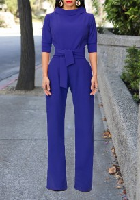 Blue Sashes Formal Elbow Sleeve High Waisted Party Wide Leg Long Jumpsuit
