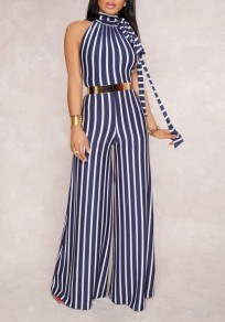 Blue-White Striped Belt Backless Halter Neck Party Wide Leg Long Jumpsuit