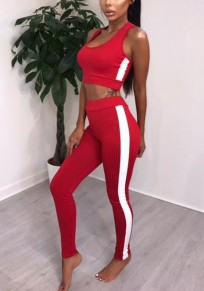 Red Patchwork Crop 2-in-1 Elastic Waist Sports Long Jumpsuit
