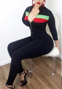 Black Patchwork Zipper Catsuit Long Sleeve Clubwear Casual Long Jumpsuit
