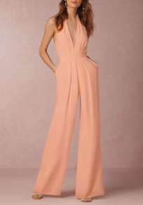 Pink Plain Backless Pockets Ruffle Zipper Casual Long Jumpsuit
