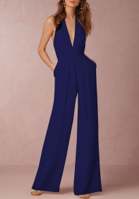 Navy Blue Plain Backless Pockets Ruffle Zipper Casual Long Jumpsuit
