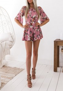Pink Floral Pattern Backless Elbow Sleeve High Waisted One Piece Cute Short Jumpsuit