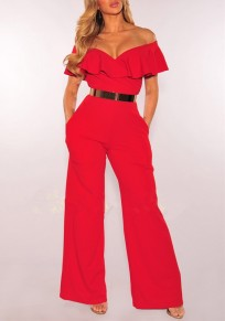 Red Ruffle Off Shoulder Backless V-neck Birthday Banquet Party Wide Leg Long Jumpsuit