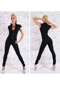 Black Chain Single Breasted Elastic Waist Sports Long Jumpsuit