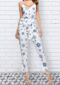 White Snowflake Print Spaghetti Strap Buttons Sashes Two Piece Lace-up Sweet Nine's Jumpsuit