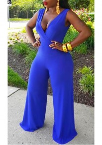 Royal Blue Pleated Wide Leg Sleeveless Deep V-neck Clubwear High Waisted Long Jumpsuit