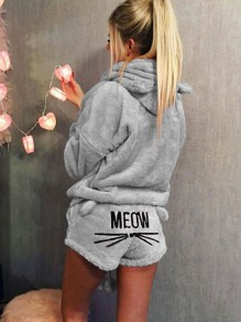 Grey Meom Cat Print Pockets Two Piece Hooded Teedy Cute Sweet Pajamas Short Jumpsuits