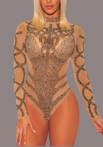 Apricot Rhinestone Cut Out High Neck Long Sleeve Clubwear Party Jumpsuit Pant