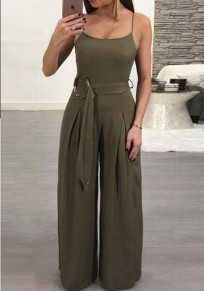 Army Green Sashes Spaghetti Strap Backless One Piece Wide Leg Long Jumpsuit