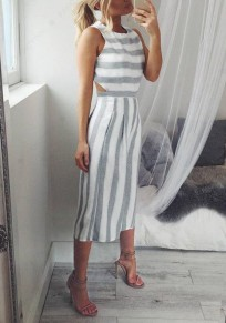 Grey Striped Pockets Zipper Cut Out Elastic Waist Seven's Jumpsuit