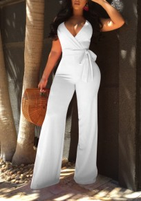 White Sashes Spaghetti Strap Deep V-neck Banquet Party Wide Leg Long Jumpsuit