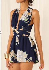 Navy Blue Floral Tie Back Elastic Waist Fashion Short Jumpsuit