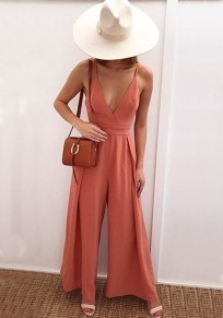 Nacarat Spaghetti Strap Deep V-neck High Waisted Elegant Party Wide Leg Long Jumpsuit