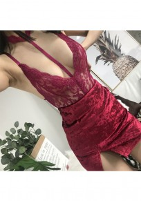 Wine Red Floral Lace Cut Out Backless Fashion Short Jumpsuit