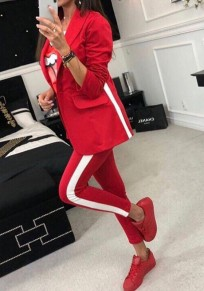 Red Striped Buttons 2-in-1 Elastic Waist Fashion Long Jumpsuit