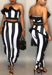 01a1cbc063f Black-White Striped Ruffle Off Shoulder Backless Two Piece Banquet Party  Long Jumpsuit