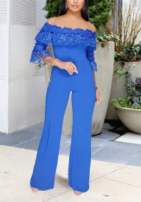 Blue Lace Off Shoulder High Waisted Office Worker/Daily Wide Leg Long Jumpsuit