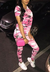 Pink Camouflage Pattern Short Sleeve Two Piece Cargo Casual Long Jumpsuit