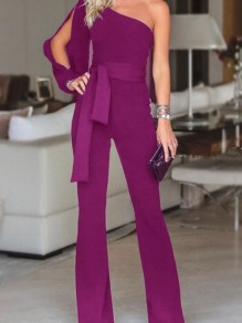 Purple Sashes Asymmetric Shoulder Cut Out Wide Leg Formal Party Long Jumpsuit