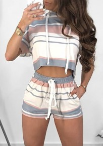White Striped Drawstring Pockets 2-in-1 Hooded Casual Short Jumpsuit