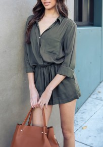 Army Green Single Breasted Pockets Drawstring Turndown Collar Casual Short Jumpsuit