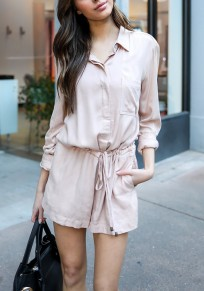 Apricot Single Breasted Pockets Drawstring Turndown Collar Casual Short Jumpsuit