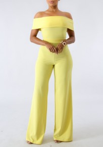 5c702a40dbf Yellow Zipper Off Shoulder Backless School Appropriate Elegant Party Wide  Leg Long Jumpsuit