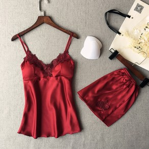 Wine Red Patchwork Condole Belt 2-in-1 Elastic Waist Short Jumpsuit