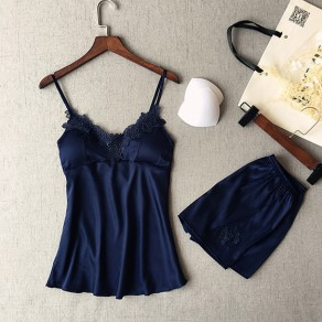 Navy Blue Patchwork Condole Belt 2-in-1 Elastic Waist Short Jumpsuit
