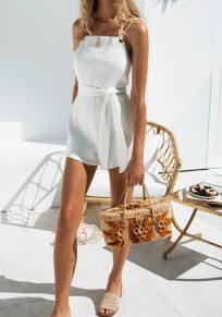 White Tie Back Drawstring Waist Fashion Short Jumpsuit