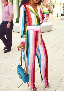 White Striped Cut Out Rainbow Colorful V-neck Long Sleeve Casual Jumpsuit