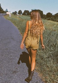Yellow Plaid Pockets Shoulder-Strap Going out Casual Short Jumpsuit