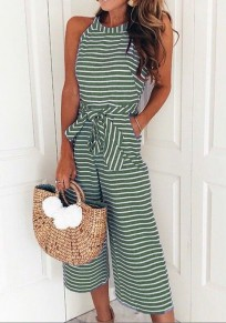 Green Striped Print Sashes Pockets Going out Wide Leg Long Jumpsuit