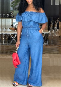 Blue Ruffle Drawstring Pockets Off Shoulder Elegant Denim Party Wide Leg Long Jumpsuit