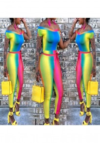 Yellow Striped Rainbow Sashes Off Shoulder Casual Long Jumpsuit