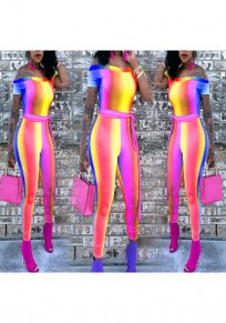 Rose Carmine Striped Rainbow Sashes Off Shoulder Casual Long Jumpsuit