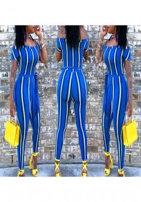 Blue Striped Rainbow Sashes Off Shoulder Casual Long Jumpsuit