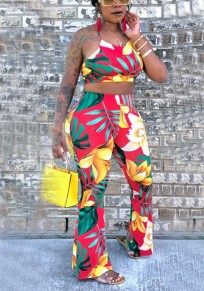 Yellow Floral Tie Back Halter Neck Backless Bohemian Bell Bottom Flare Tropical Long Jumpsuit