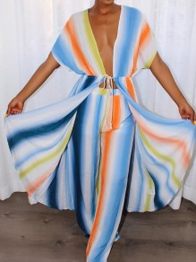 Blue Striped Pockets Drawstring Two Piece Casual Long Jumpsuit